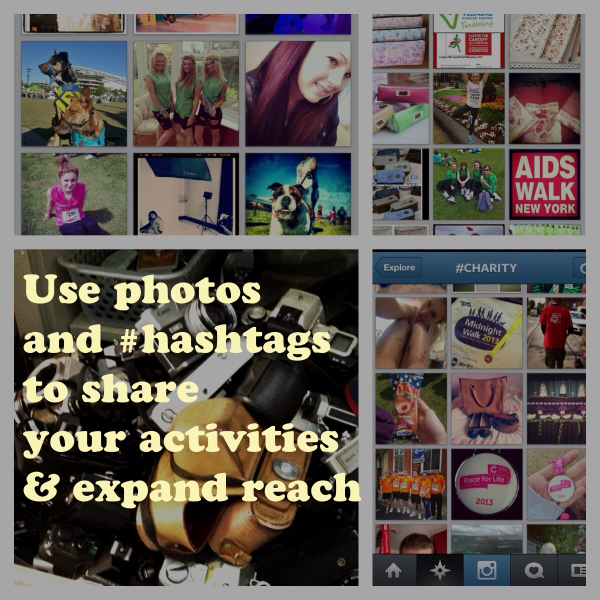 Samples from Instagram using OVER on using photos for Charity