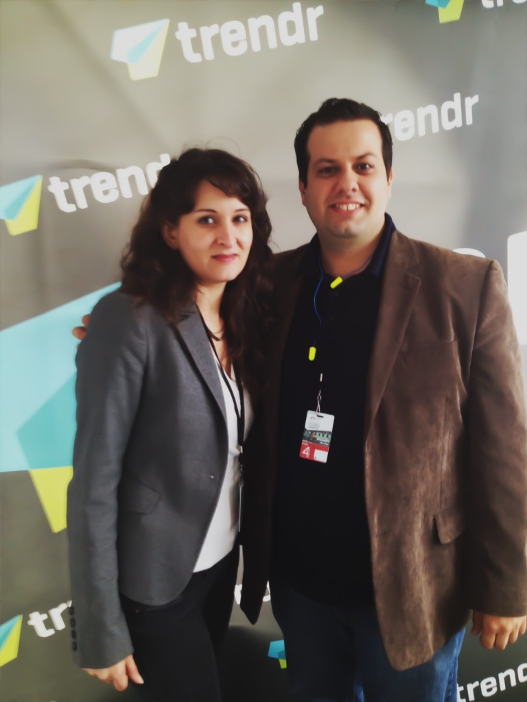 Mila Araujo, @Milaspage with George Stamatis, @TrendrInc at the Grand Prix Montreal
