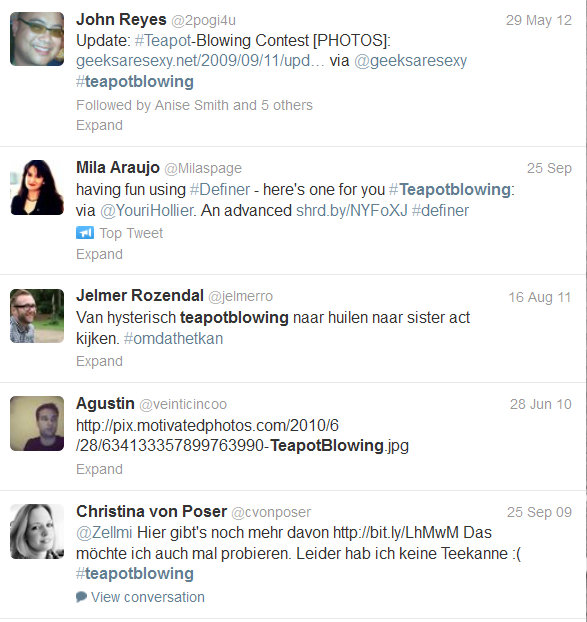 Example two with international reach Business use of hashtags for fun - building community - advertising and contests