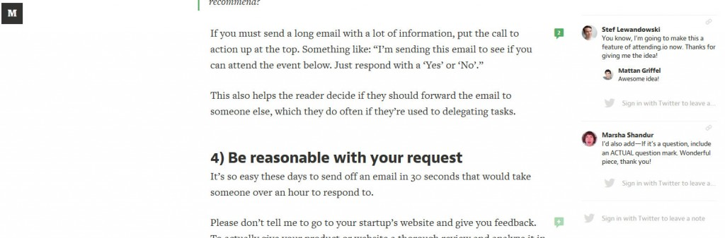 Example of side commenting from Medium screen shot taken from the article How to get a busy person to respond to your email by @mattangriffel
